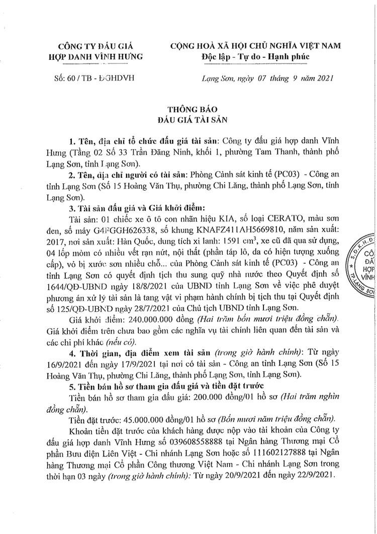 Ngày 23/9/2021, đấu giá 01 xe ô tô KIA tại tỉnh Lạng Sơn ảnh 3