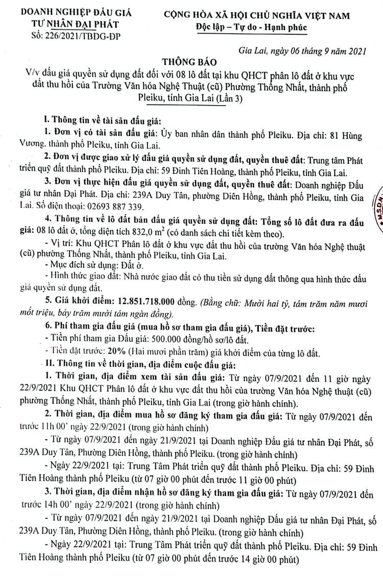 Ngày 25/9/2021, đấu giá quyền sử dụng 08 lô đất tại thành phố Pleiku, tỉnh Gia Lai ảnh 2