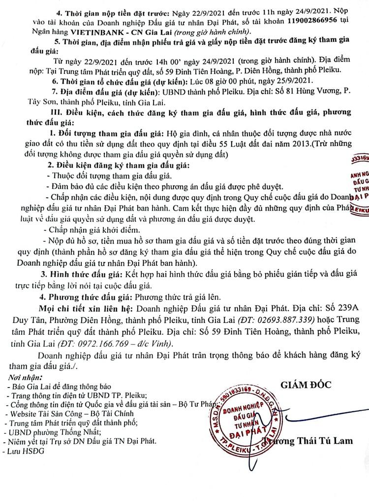 Ngày 25/9/2021, đấu giá quyền sử dụng 08 lô đất tại thành phố Pleiku, tỉnh Gia Lai ảnh 3