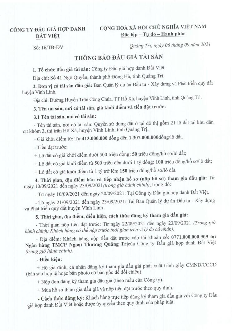 Ngày 26/9/2021, đấu giá quyền sử 21 lô đất tại huyện Vĩnh Linh, tỉnh Quảng Trị ảnh 2