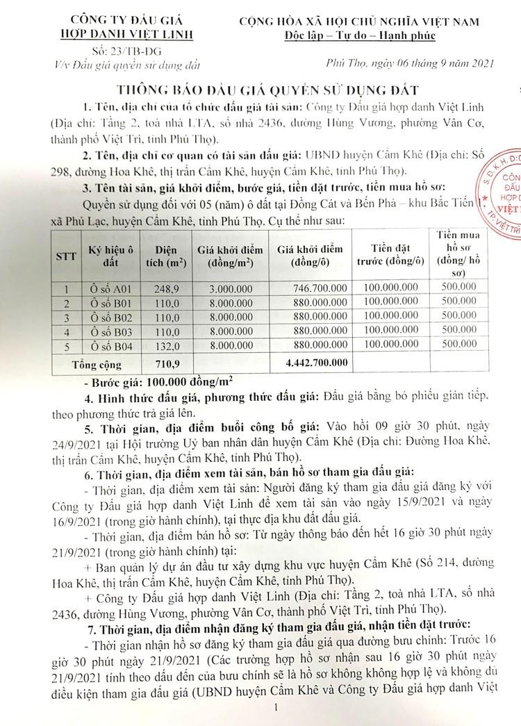 Ngày 24/9/2021, đấu giá quyền sử dụng 05 ô đất tại huyện Cẩm Khê, tỉnh Phú Thọ ảnh 2