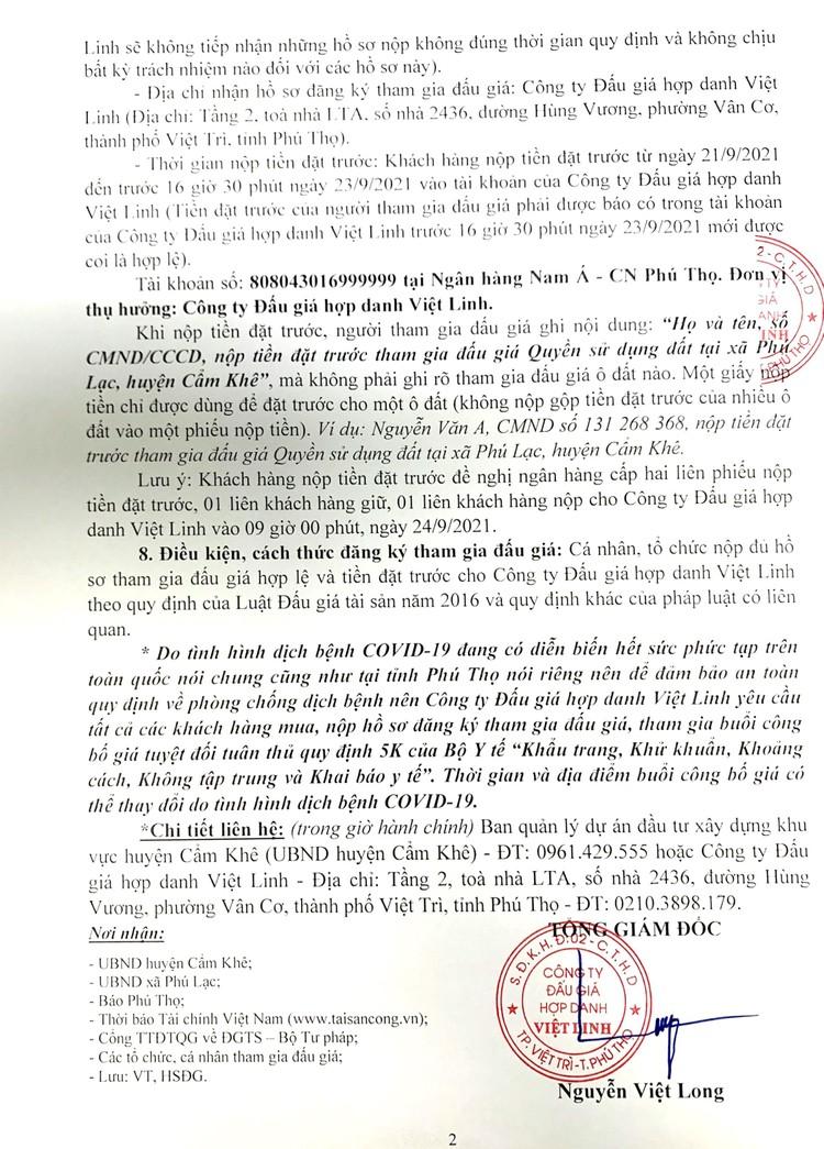 Ngày 24/9/2021, đấu giá quyền sử dụng 05 ô đất tại huyện Cẩm Khê, tỉnh Phú Thọ ảnh 3