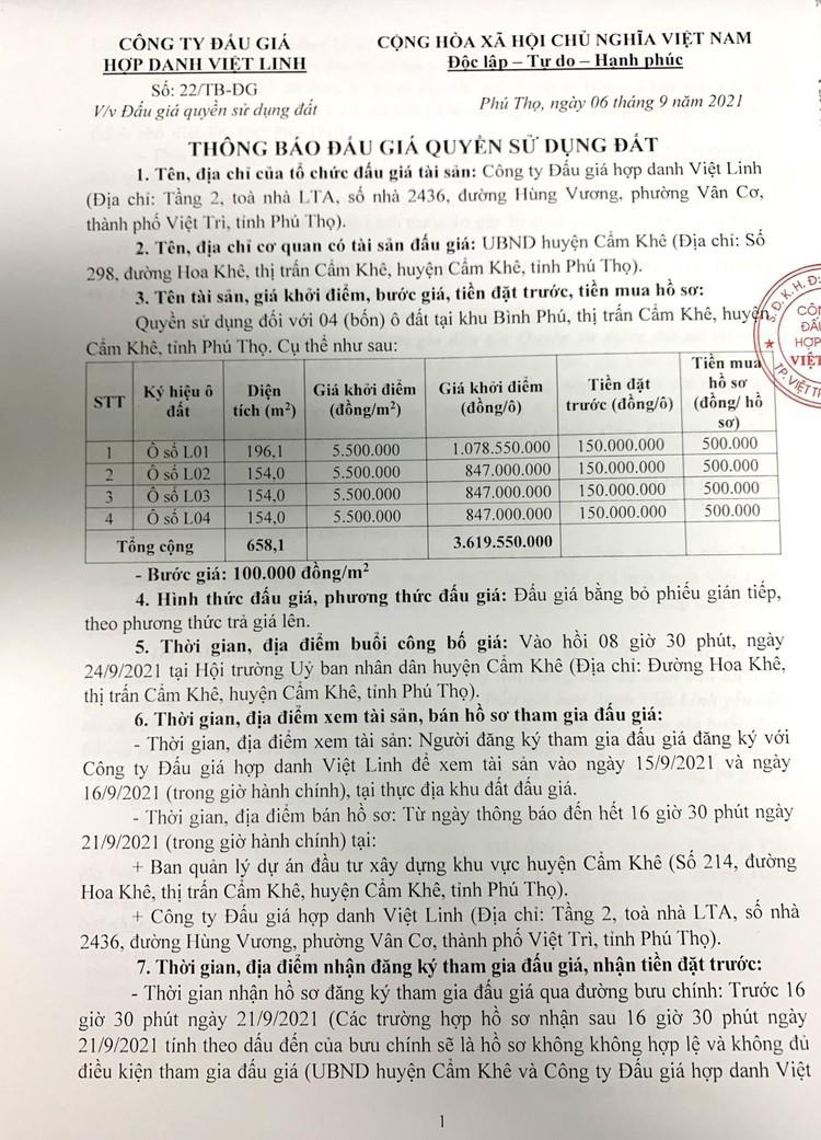 Ngày 24/9/2021, đấu giá quyền sử dụng 04 ô đất tại huyện Cẩm Khê, tỉnh Phú Thọ ảnh 2