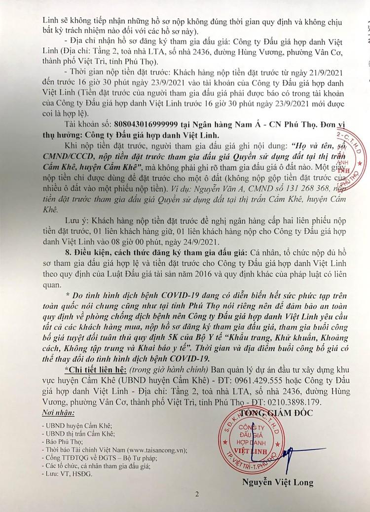 Ngày 24/9/2021, đấu giá quyền sử dụng 04 ô đất tại huyện Cẩm Khê, tỉnh Phú Thọ ảnh 3