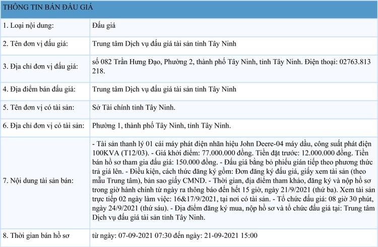 Ngày 24/9/2021, đấu giá 1 máy phát điện John Deere-04 tại tỉnh Tây Ninh ảnh 1