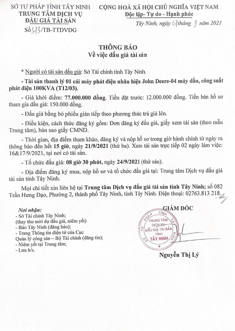 Ngày 24/9/2021, đấu giá 1 máy phát điện John Deere-04 tại tỉnh Tây Ninh ảnh 3