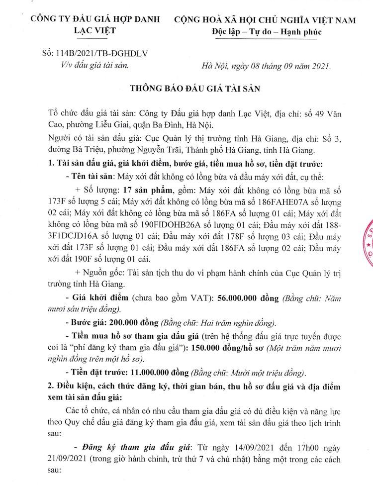 Ngày 24/9/2021, đấu giá máy xới đất không có lồng bừa và đầu máy xới đất tại tỉnh Hà Giang ảnh 2