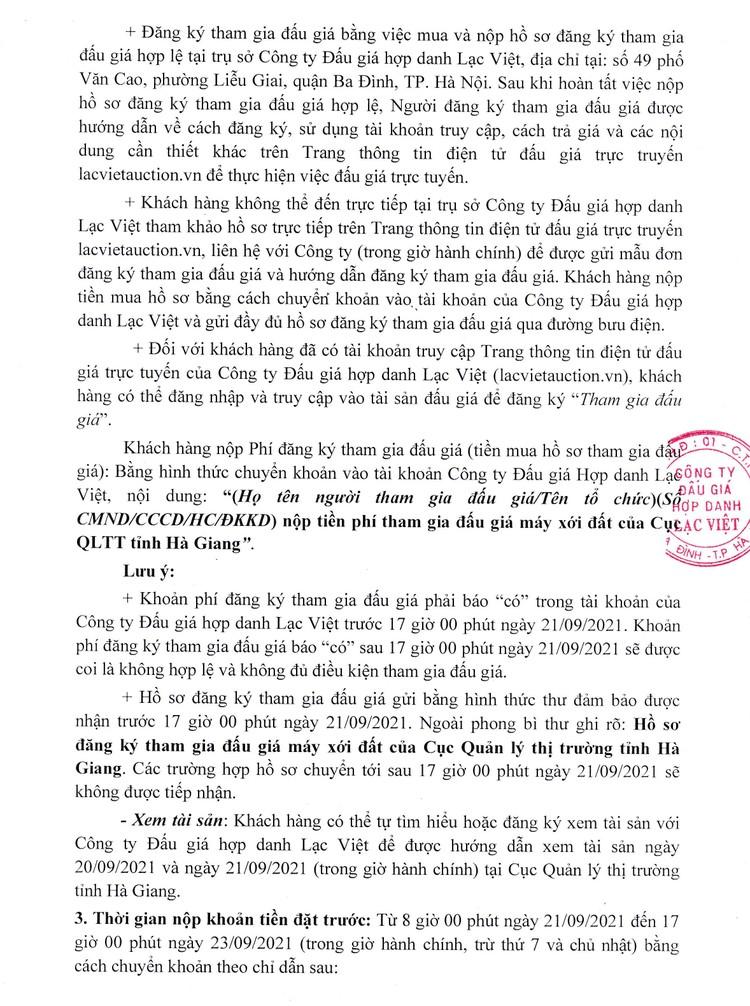 Ngày 24/9/2021, đấu giá máy xới đất không có lồng bừa và đầu máy xới đất tại tỉnh Hà Giang ảnh 3
