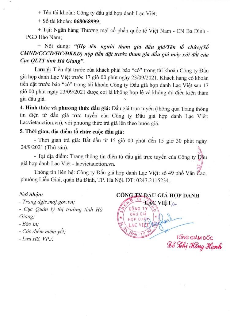 Ngày 24/9/2021, đấu giá máy xới đất không có lồng bừa và đầu máy xới đất tại tỉnh Hà Giang ảnh 4