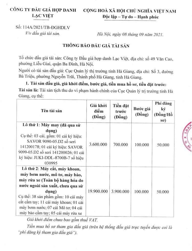Ngày 24/9/2021, đấu giá tài sản bị tịch thu do vi phạm hành chính tại tỉnh Hà Giang ảnh 2