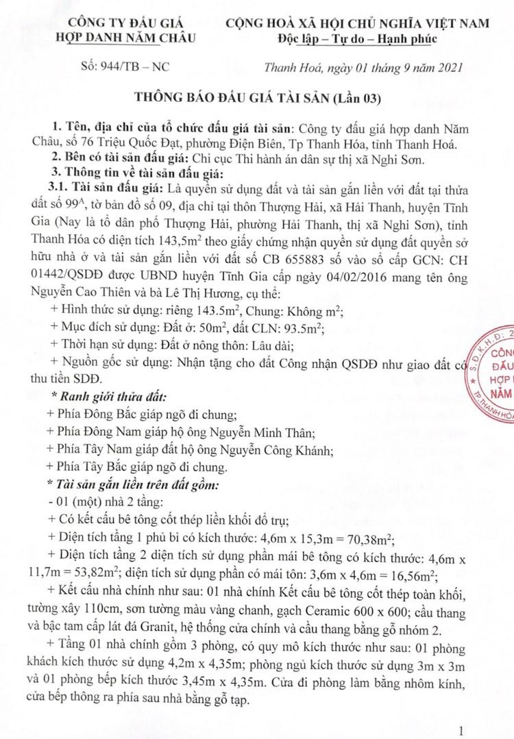 Ngày 30/9/2021, đấu giá quyền sử dụng 143,5 m2 đất tại thị xã Nghi Sơn, tỉnh Thanh Hóa ảnh 2