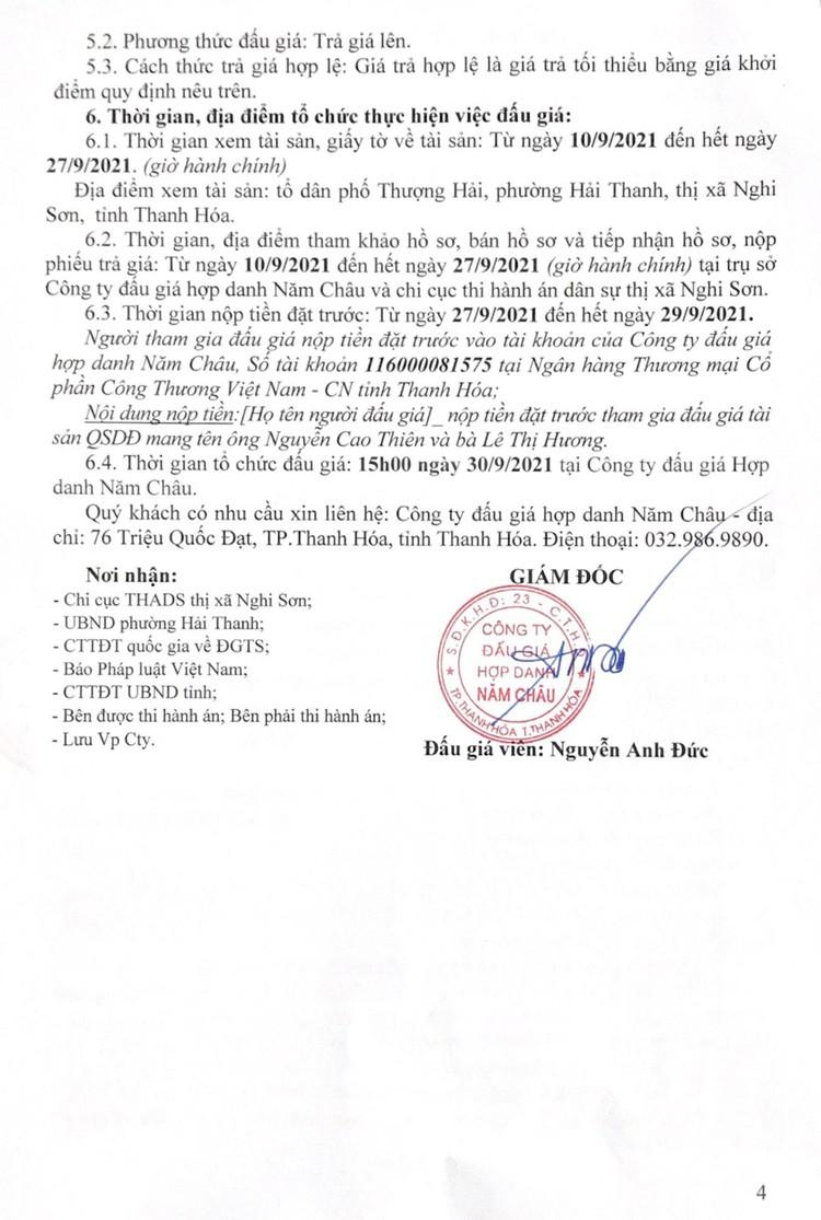 Ngày 30/9/2021, đấu giá quyền sử dụng 143,5 m2 đất tại thị xã Nghi Sơn, tỉnh Thanh Hóa ảnh 5