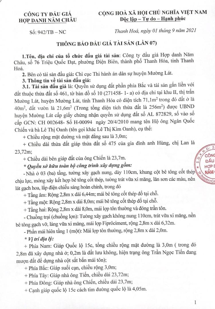 Ngày 28/9/2021, đấu giá quyền sử dụng 71,1 m2 đất tại huyện Mường Lát, tỉnh Thanh Hóa ảnh 2