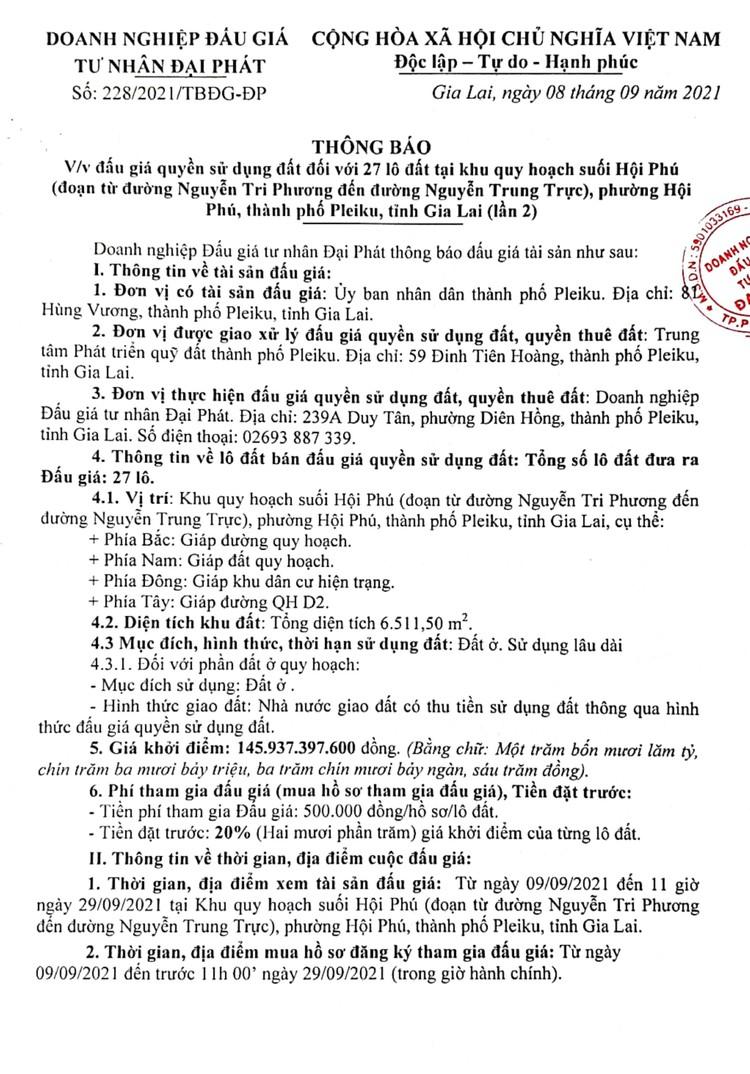 Ngày 2/10/2021, đấu giá quyền sử dụng 27 lô đất tại thành phố Pleiku, tỉnh Gia Lai ảnh 2