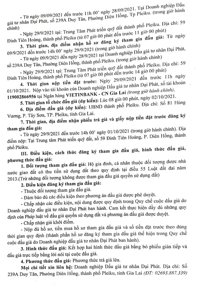 Ngày 2/10/2021, đấu giá quyền sử dụng 27 lô đất tại thành phố Pleiku, tỉnh Gia Lai ảnh 3