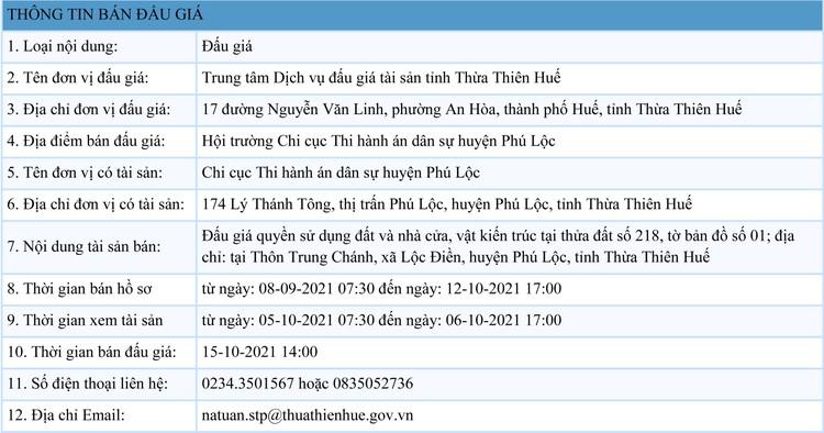 Ngày 15/10/2021, đấu giá quyền sử dụng 307 m2 đất tại huyện Phú Lộc, tỉnh Thừa Thiên Huế ảnh 1