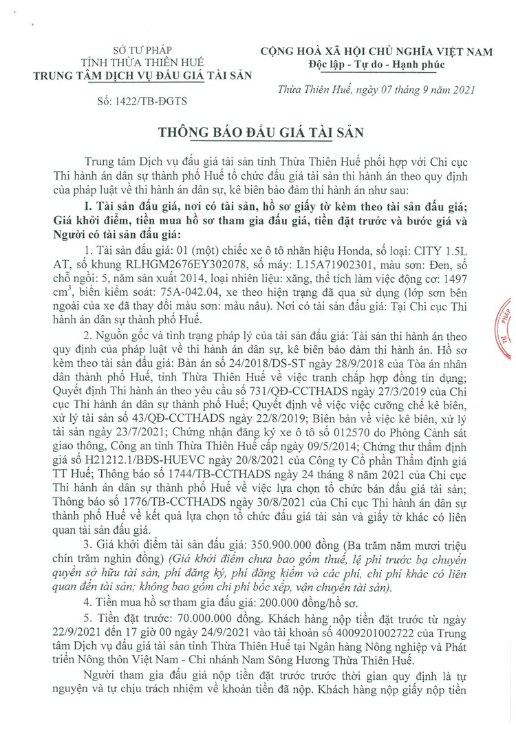Ngày 27/9/2021, đấu giá xe ô tô Honda tại tỉnh Thừa Thiên Huế ảnh 2