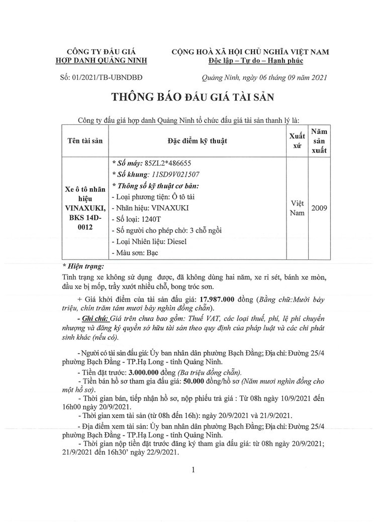 Ngày 23/9/2021, đấu giá xe ô tô VINAXUKI tại tỉnh Quảng Ninh ảnh 2