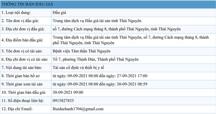 Ngày 30/9/2021, đấu giá tài sản cố định và thiết bị y tế tại tỉnh Thái Nguyên ảnh 1