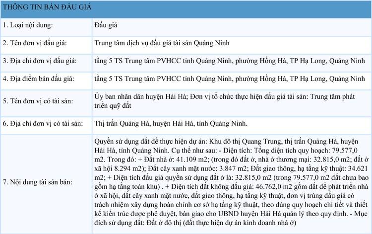 Ngày 27/9/2021, đấu giá quyền sử dụng đất tại huyện Hải Hà, tỉnh Quảng Ninh ảnh 1