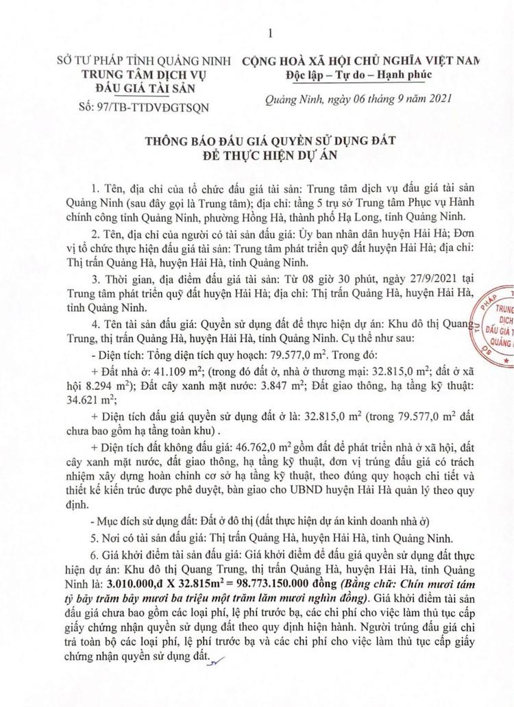 Ngày 27/9/2021, đấu giá quyền sử dụng đất tại huyện Hải Hà, tỉnh Quảng Ninh ảnh 3