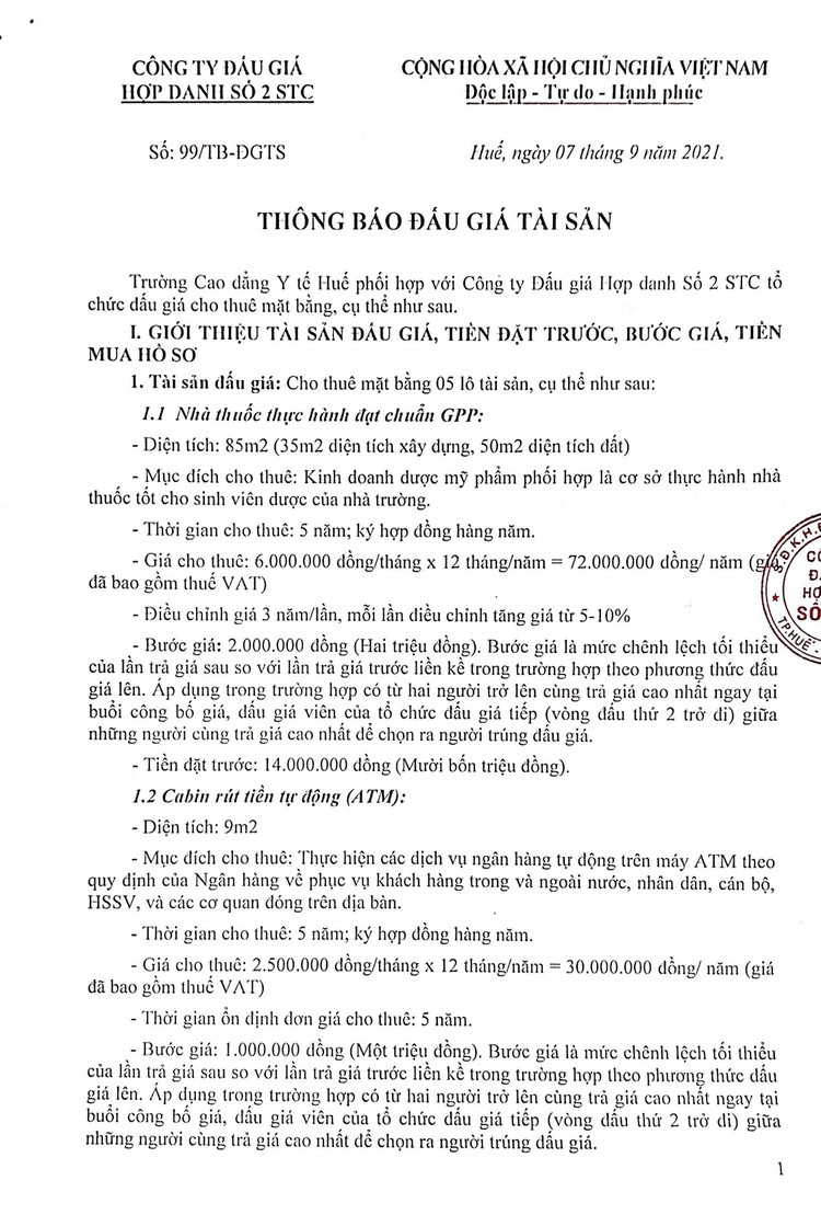Ngày 30/9/2021, đấu giá cho thuê mặt bằng tại Trường Cao đẳng Y tế Huế, tỉnh Thừa Thiên Huế ảnh 2