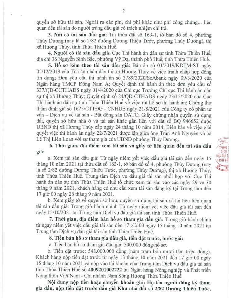Ngày 18/10/2021, đấu giá quyền sử dụng đất tại thị xã Hương Thủy, tỉnh Thừa Thiên Huế ảnh 3