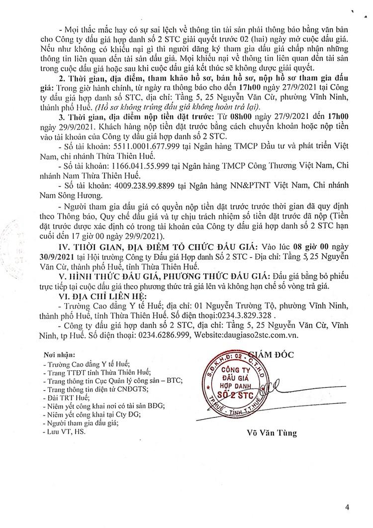 Ngày 30/9/2021, đấu giá cho thuê mặt bằng tại Trường Cao đẳng Y tế Huế, tỉnh Thừa Thiên Huế ảnh 5