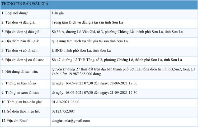 Ngày 1/10/2021, đấu giá quyền sử dụng 27 thửa đất tại thành phố Sơn La, tỉnh Sơn La ảnh 1