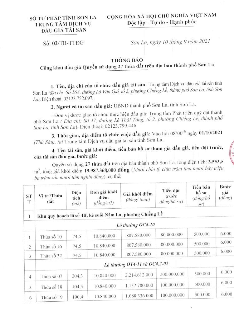 Ngày 1/10/2021, đấu giá quyền sử dụng 27 thửa đất tại thành phố Sơn La, tỉnh Sơn La ảnh 2