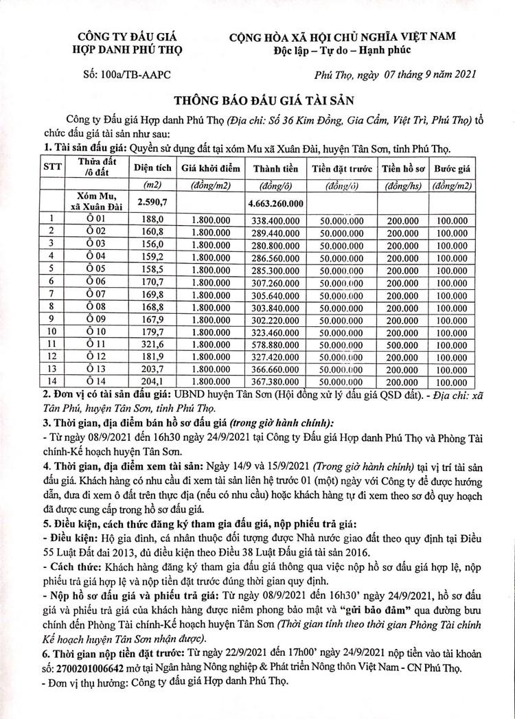 Ngày 27/9/2021, đấu giá quyền sử dụng 14 lô đất tại huyện Tân Sơn, tỉnh Phú Thọ ảnh 2