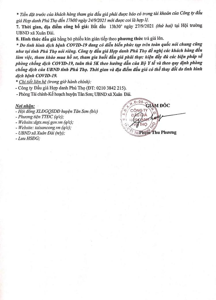 Ngày 27/9/2021, đấu giá quyền sử dụng 14 lô đất tại huyện Tân Sơn, tỉnh Phú Thọ ảnh 3