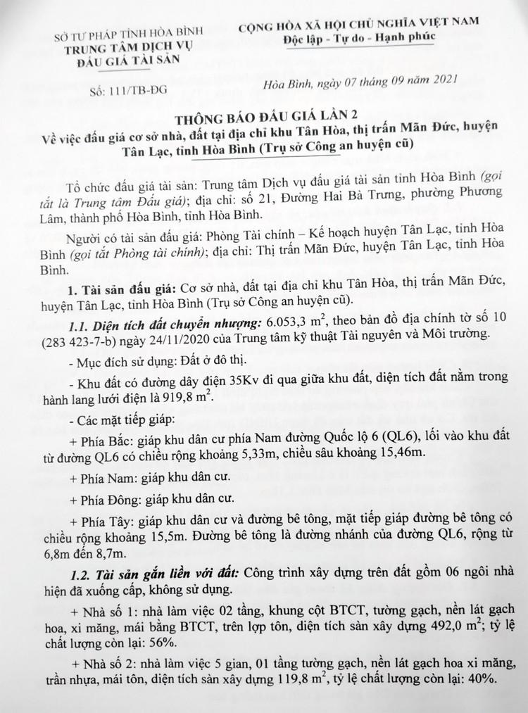 Ngày 28/9/2021, đấu giá quyền sử dụng 6.053,3 m2 đất tại huyện Tân Lạc, tỉnh Hòa Bình ảnh 2