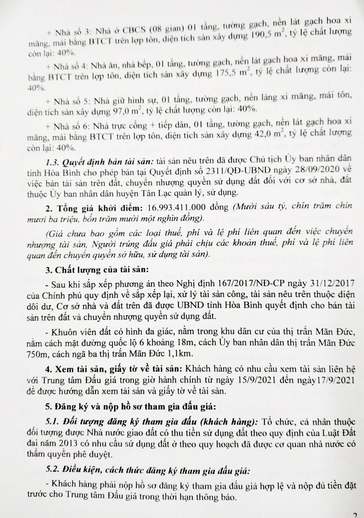 Ngày 28/9/2021, đấu giá quyền sử dụng 6.053,3 m2 đất tại huyện Tân Lạc, tỉnh Hòa Bình ảnh 3