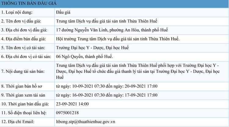 Ngày 23/9/2021, đấu giá thanh lý tài sản tại tỉnh Thừa Thiên Huế ảnh 1