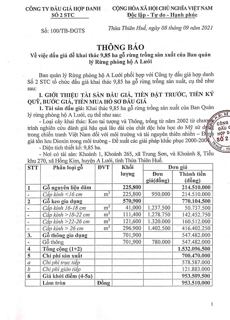Ngày 20/9/2021, đấu giá khai thác 9,85 ha gỗ rừng trồng sản xuất tại tỉnh Thừa Thiên Huế ảnh 2