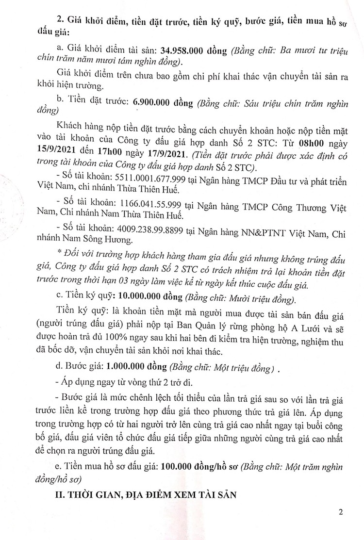 Ngày 20/9/2021, đấu giá khai thác tận thu 89 cây Keo tai tượng tại tỉnh Thừa Thiên Huế ảnh 3