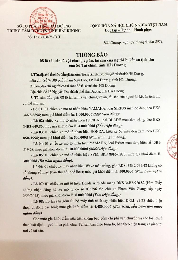 Ngày 16/9/2021, đấu giá vật chứng vụ án, tài sản của người bị kết án tịch thu tại tỉnh Hải Dương ảnh 3