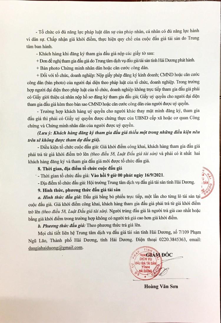 Ngày 16/9/2021, đấu giá vật chứng vụ án, tài sản của người bị kết án tịch thu tại tỉnh Hải Dương ảnh 5