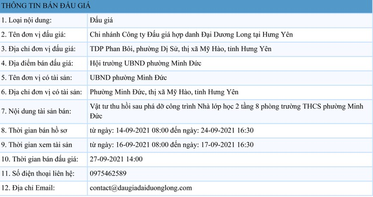 Ngày 27/9/2021, đấu giá vật tư thu hồi sau phá dỡ công trình tại tỉnh Hưng Yên ảnh 1
