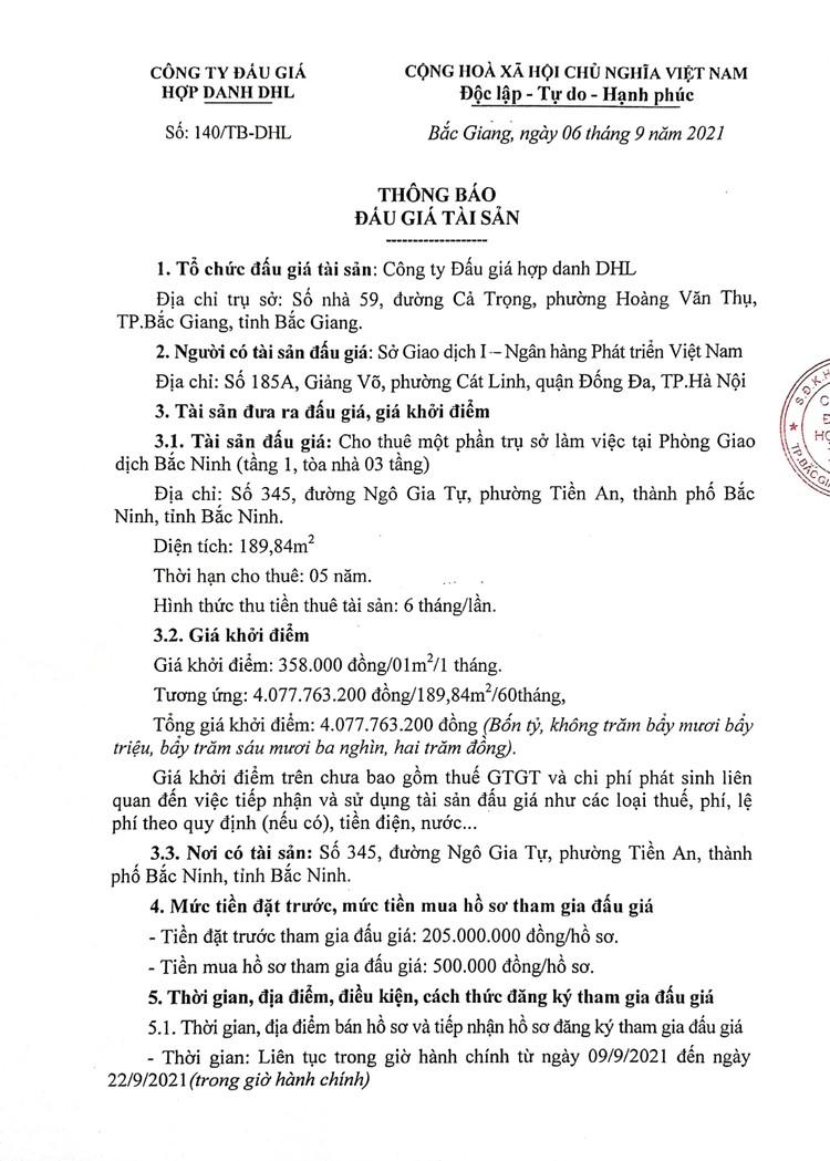 Ngày 27/9/2021, đấu giá cho thuê mặt bằng tại tỉnh Bắc Ninh ảnh 2