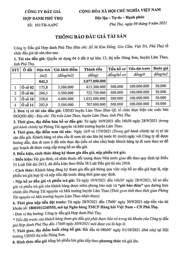 Ngày 1/10/2021, đấu giá quyền sử dụng 4 ô đất tại huyện Lâm Thao, tỉnh Phú Thọ ảnh 2