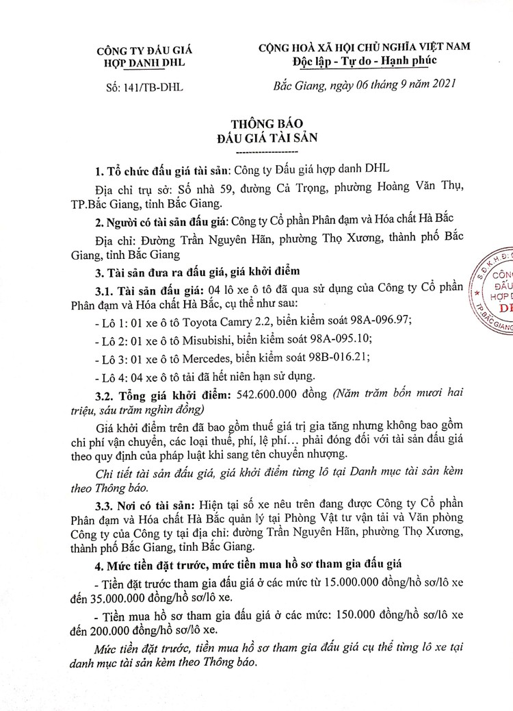 Ngày 23/9/2021, đấu giá 4 lô xe ô tô đã qua sử dụng tại tỉnh Bắc Giang ảnh 2