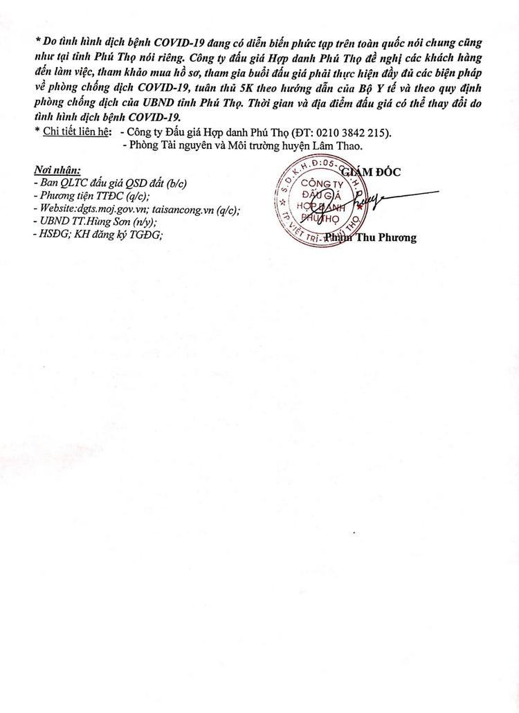 Ngày 1/10/2021, đấu giá quyền sử dụng 4 ô đất tại huyện Lâm Thao, tỉnh Phú Thọ ảnh 3