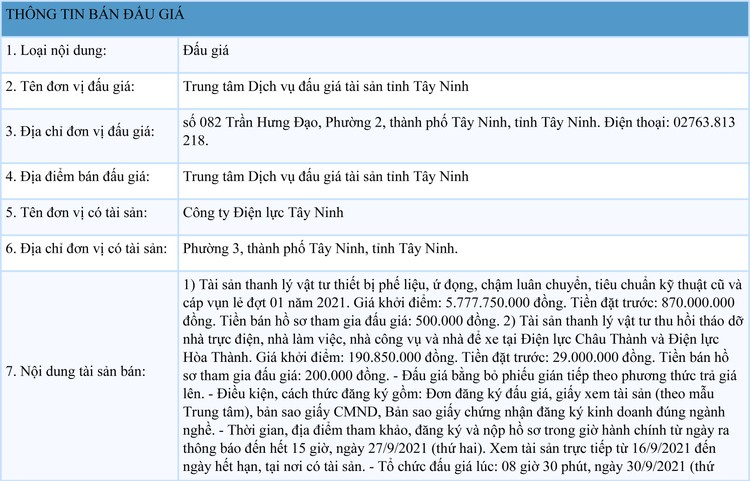 Ngày 30/9/2021, đấu giá vật tư thiết bị phế liệu tại tỉnh Tây Ninh ảnh 1