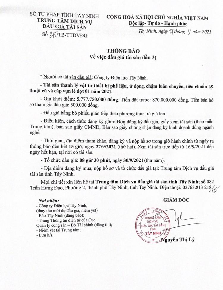 Ngày 30/9/2021, đấu giá vật tư thiết bị phế liệu tại tỉnh Tây Ninh ảnh 3