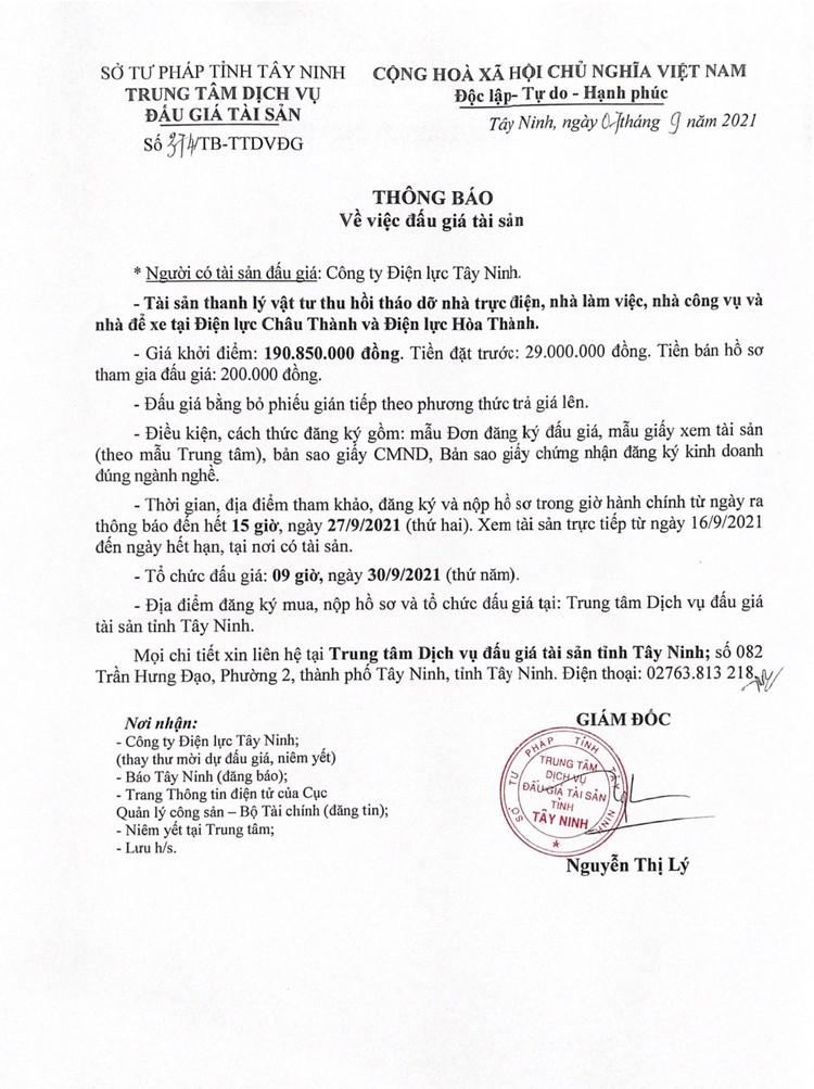 Ngày 30/9/2021, đấu giá vật tư thiết bị phế liệu tại tỉnh Tây Ninh ảnh 4