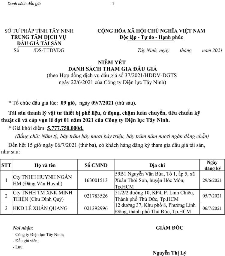 Ngày 30/9/2021, đấu giá vật tư thiết bị phế liệu tại tỉnh Tây Ninh ảnh 5