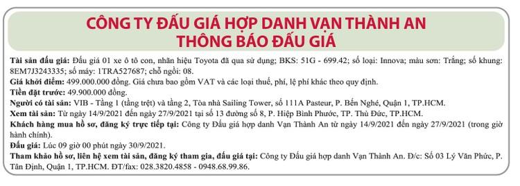 Ngày 30/9/2021, đấu giá xe ô tô Toyota tại TP.HCM ảnh 1