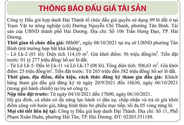 Ngày 8/10/2021, đấu giá quyền sử dụng đất tại thành phố Hải Dương, tỉnh Hải Dương ảnh 1